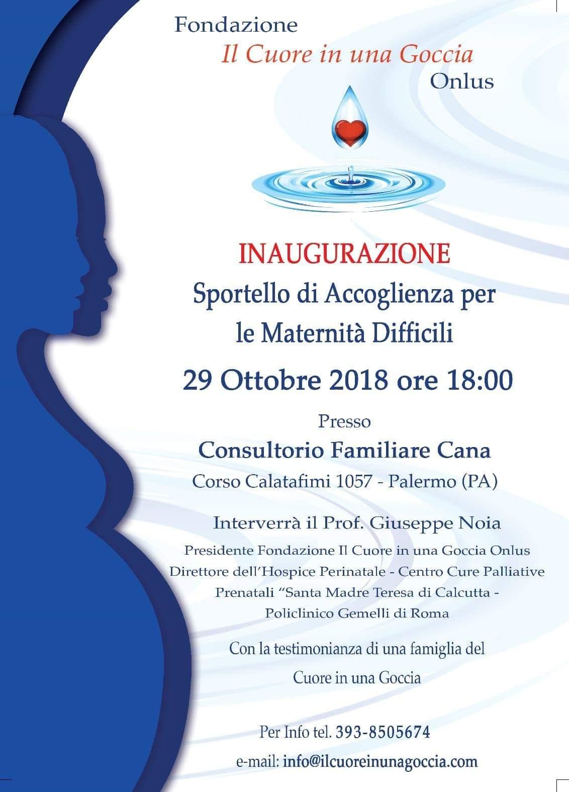 locandina inaugurazione sportello per le maternità difficili